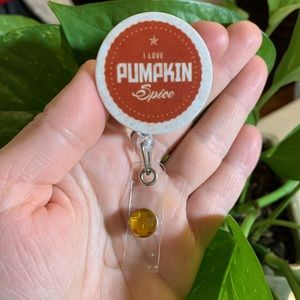 I love Pumpkin Spice Badge Holder
